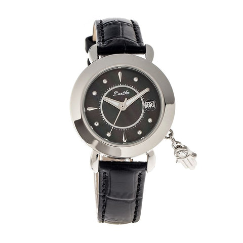 Bertha Hannah MOP Leather-Band Ladies Watch w/Date - Silver/Black BTHBR5602