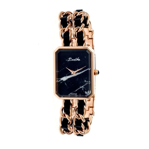 Bertha Eleanor Ladies Swiss Bracelet Watch - Rose Gold/Black BTHBR5906