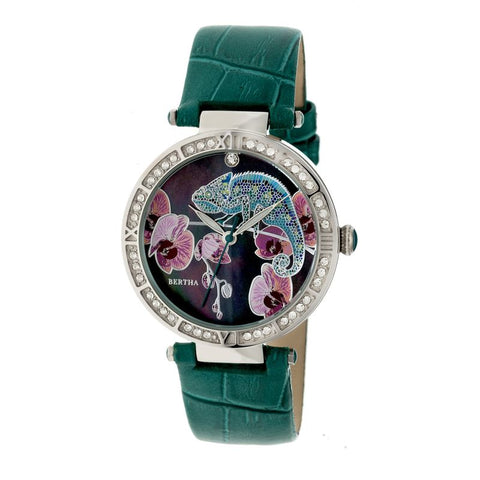Bertha Camilla Mother-Of-Pearl Leather-Band Watch - Teal BTHBR6204