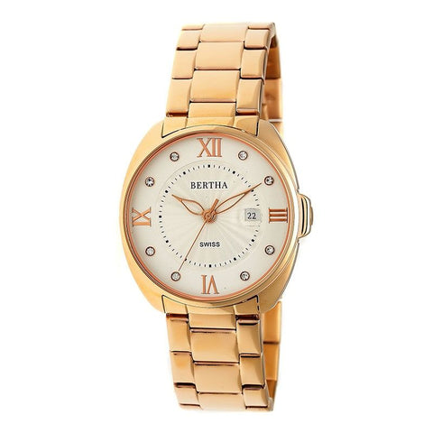 Bertha Amelia Bracelet Watch w/Date - Rose Gold BTHBR6303