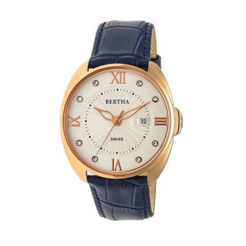 Bertha Amelia Leather-Band Watch w/Date - Navy BTHBR6308
