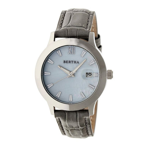 Bertha Eden Mother-Of-Pearl Leather-Band Watch w/Date - Grey/Silver BTHBR6502