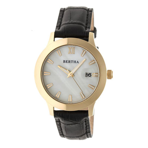 Bertha Eden Mother-Of-Pearl Leather-Band Watch w/Date - Black/Gold BTHBR6504
