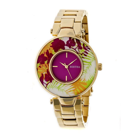 Bertha Elizabeth Unique Bezel Bracelet Watch - Gold/Fuchsia BTHBR6602