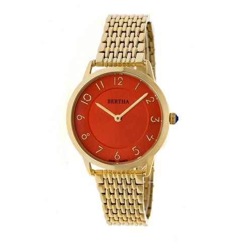 Bertha Abby Swiss Bracelet Watch - Gold/Red BTHBR6803