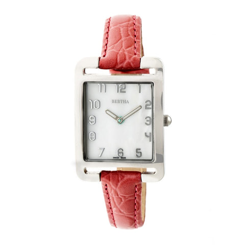 Bertha Marisol Swiss MOP Leather-Band Watch - Coral BTHBR6902