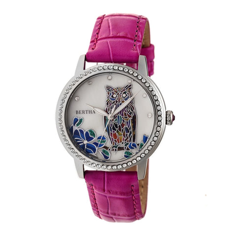 Bertha Madeline MOP Leather-Band Watch - Hot Pink BTHBR7106
