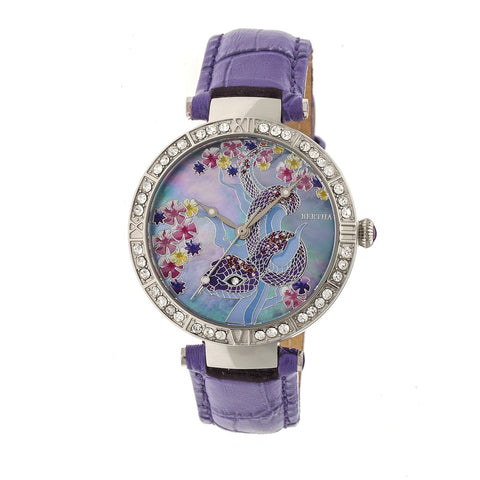 Bertha Mia Mother-Of-Pearl Leather-Band Watch - Purple BTHBR7402