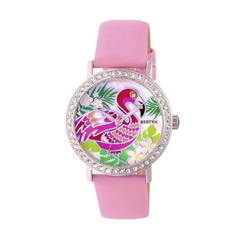 Bertha Luna Mother-Of-Pearl Leather-Band Watch - Light Pink BTHBR7702