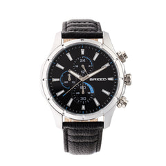 Breed Lacroix Chronograph Leather-Band Watch - Silver/Black