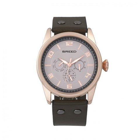 Breed Rio Leather-Band Watch w/Day/Date - Rose Gold/Brown - BRD7405