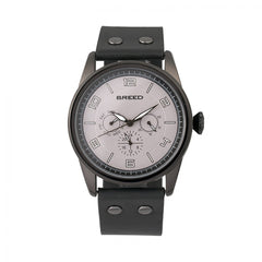 Breed Rio Leather-Band Watch w/Day/Date - Black