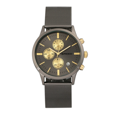 Breed Espinosa Chronograph Mesh-Bracelet Watch w/ Date - Gunmetal