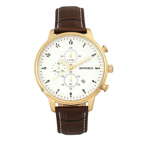 Breed Holden Chronograph Leather-Band Watch w/ Date - Gold/Brown BRD7805