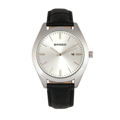 Breed Louis Leather-Band Watch w/Date - Silver/Black/Silver