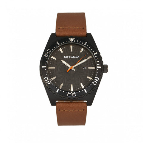 Breed Ranger Leather-Band Watch w/Date - Black/Brown