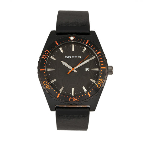 Breed Ranger Leather-Band Watch w/Date - Black