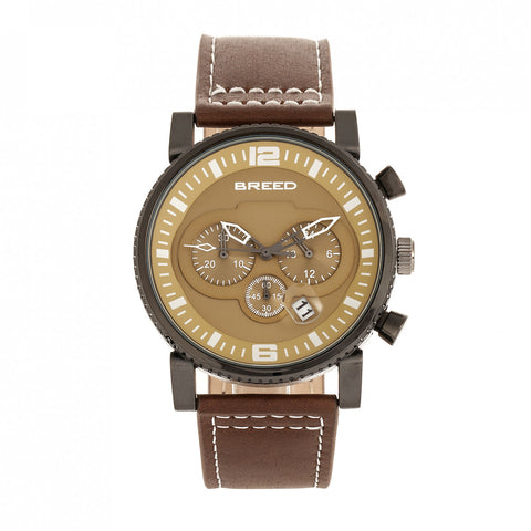 Breed Ryker Chronograph Leather-Band Watch w/Date - Brown/Camel BRD8205