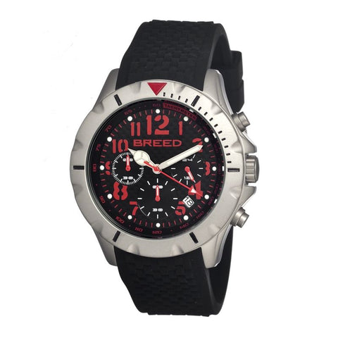 Breed Sergeant Chronograph Men's Watch w/ Date-Black/Red BRD3607