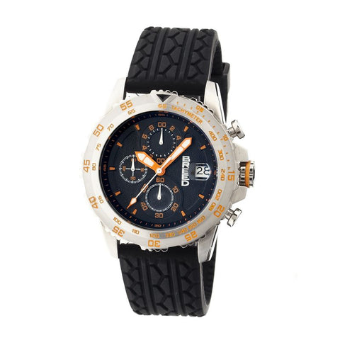 Breed Socrates Chronograph Men's Watch w/ Date-Silver/Orange BRD6303