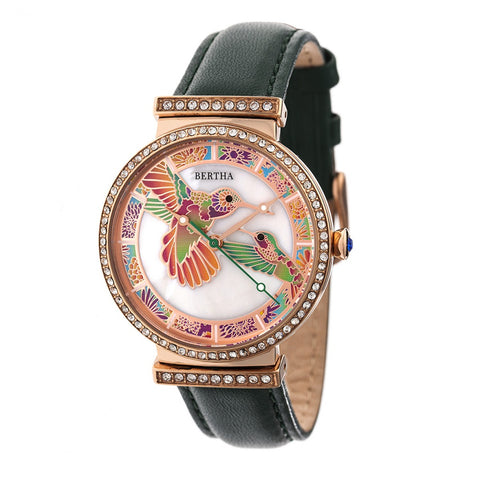 Bertha Emily Mother-Of-Pearl Leather-Band Watch - Rose Gold/Green BTHBR7807