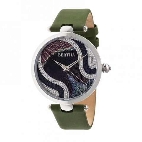 Bertha Trisha Leather-Band Watch w/Swarovski Crystals - Olive BTHBR8001