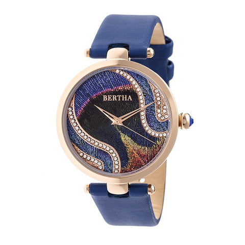 Bertha Trisha Leather-Band Watch w/Swarovski Crystals - Blue BTHBR8005