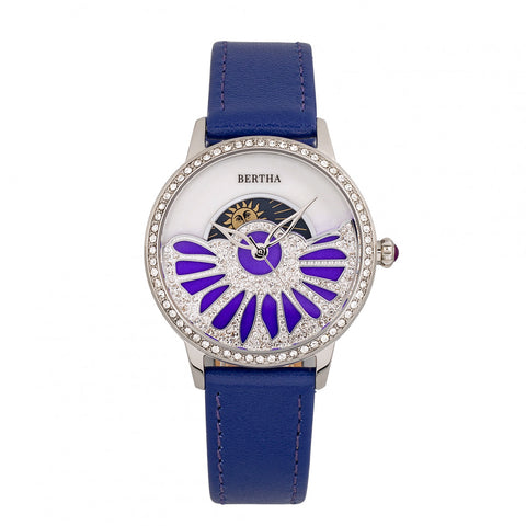 Bertha Adaline Mother-Of-Pearl Leather-Band Watch - Purple BTHBR8203
