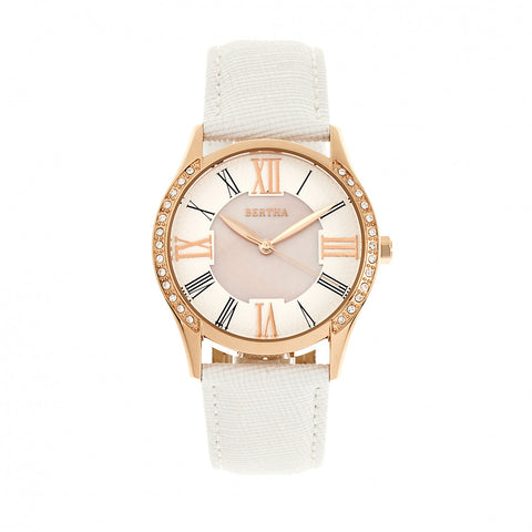 Bertha Sadie Mother-of-Pearl Leather-Band Watch - White BTHBR8404