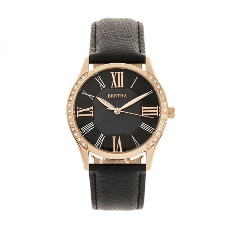 Bertha Sadie Leather-Band Watch - Black