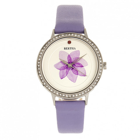 Bertha Delilah Leather-Band Watch - Silver/Lavender BTHBR8602
