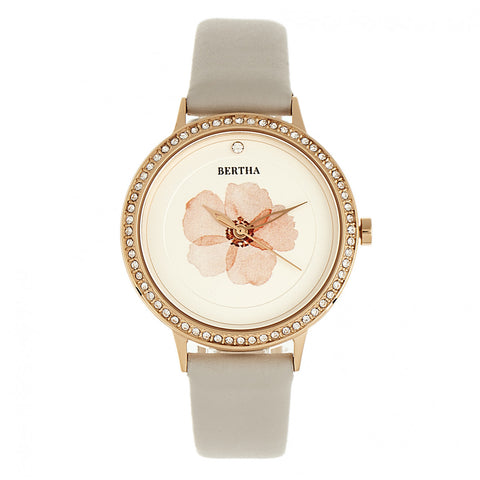 Bertha Delilah Leather-Band Watch - Rose Gold/Grey BTHBR8605