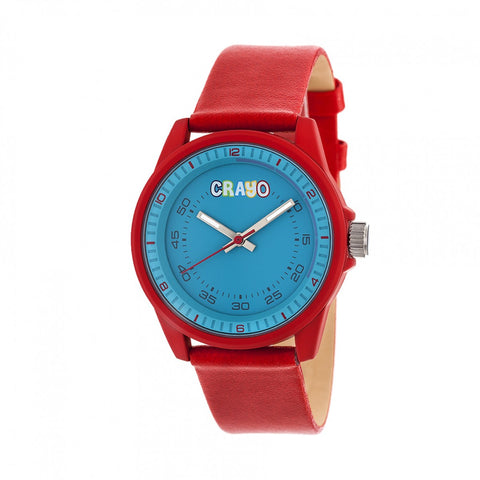Crayo Jolt Leatherette Strap Watch - Red