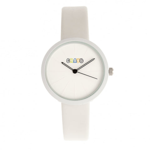 Crayo Blade Leatherette Strap Watch - White CRACR5401