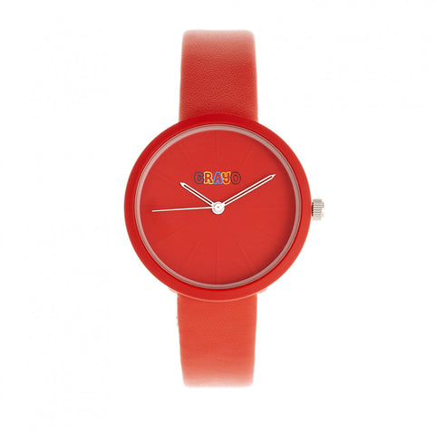 Crayo Blade Leatherette Strap Watch - Red CRACR5403