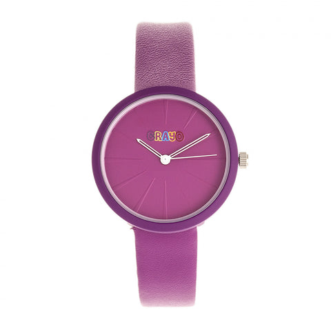 Crayo Blade Leatherette Strap Watch - Purple CRACR5405