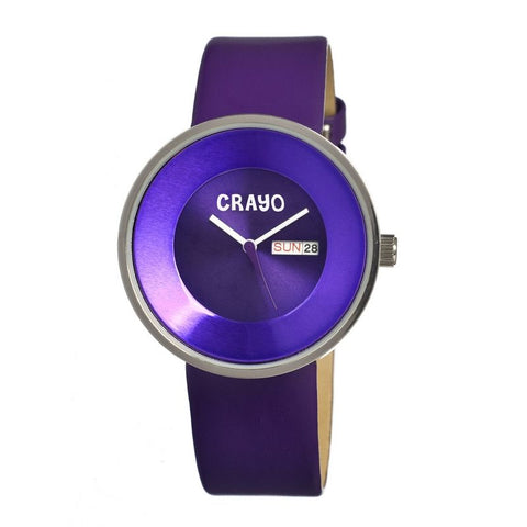 Crayo Button Leather-Band Unisex Watch w/ Day/Date - Purple CRACR0201