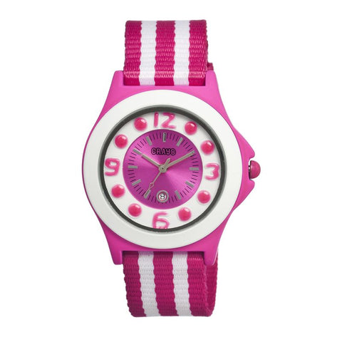 Crayo Carnival Nylon-Band Unisex Watch w/Date - Pink/White CRACR0705