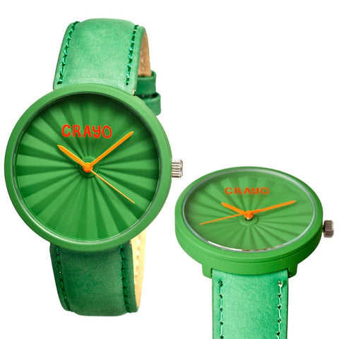 Crayo Pleats Leather-Band Unisex Watch - Green CRACR1502
