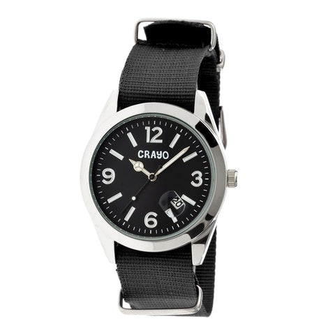 Crayo Sunrise Nylon-Band Unisex Watch w/ Date - Black CRACR1702
