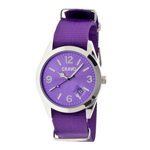 Crayo Sunrise Nylon-Band Unisex Watch w/ Date - Purple CRACR1707