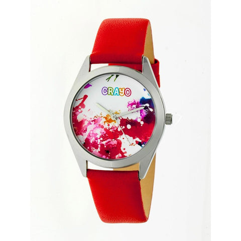 Crayo Graffiti Leather-Band Watch - Silver/Red CRACR4002