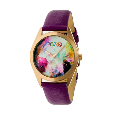 Crayo Graffiti Leather-Band Watch - Rose Gold/Purple CRACR4006