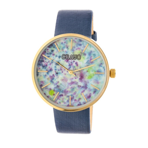 Crayo Swirl Strap Watch - Gold/Navy CRACR4203