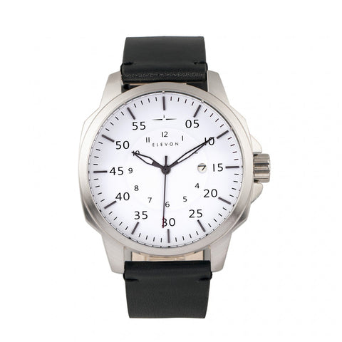 Elevon Hughes Leather-Band Watch w/ Date - Silver/White/Black ELE101-1