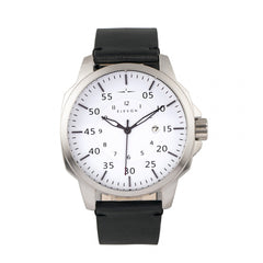Elevon Hughes Leather-Band Watch w/ Date - Silver/White/Black
