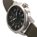 Elevon Hughes Leather-Band Watch w/ Date - Silver/Olive ELE101-3