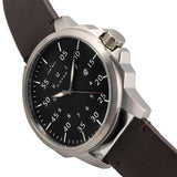 Elevon Hughes Leather-Band Watch w/ Date - Silver/Brown