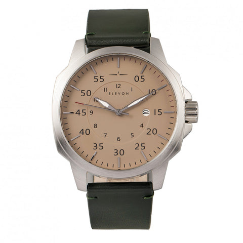 Elevon Hughes Leather-Band Watch w/ Date - Silver/Green ELE101-5