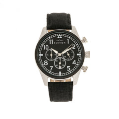 Elevon Curtiss Chronograph Leather-Band Watch - Silver/Black